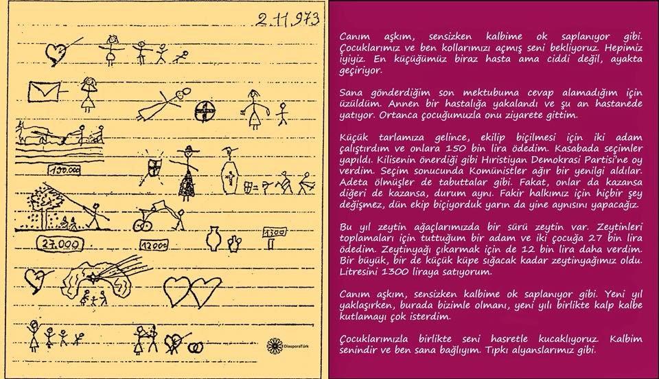Okuma yazması olmayan İtalyan kadının Almanya'da işçi olarak çalışan kocasına gönderdiği mektup. (1973-Catania)