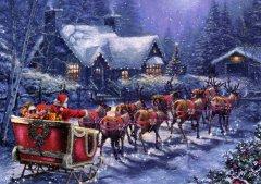 Yeni Yıl Noel Baba ve Ren Geyikleri