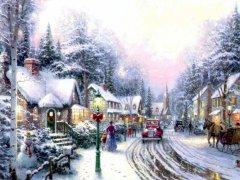 yeni yıl manzarası kartpostal