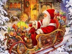 Yeni Yıl Noel Baba ve Çocuk
